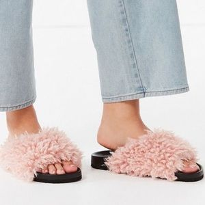 Urban Outfitters faux shearling fur sandals